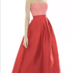 ALFRED SUNG Prom Dress Apricot Coral Size 4 $215
